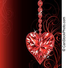 Love ruby heart, wedding valentines day card, vector