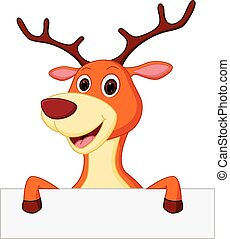happy deer cartoon with blank sign - Vector Illustration of...