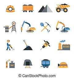 Coal Industry Icons - Coal industry metallurgy mine...