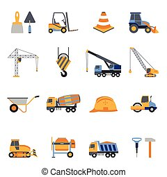 Construction Icons Set - Construction icons set with builder...