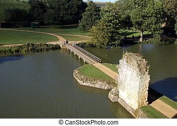 aerial view, Bodiam castle bridge