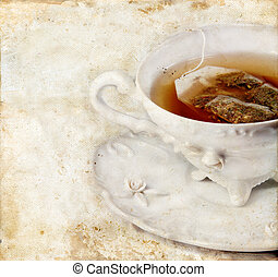 Cup of Tea on Grunge background
