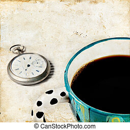 Coffee and Watch on a Grunge background