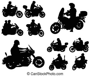 motorcyclists silhouettes collection - vector