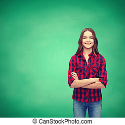 smiling young woman in casual clothes