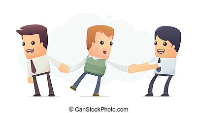 businessmen try to attract client. conceptual illustration