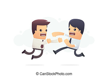 fighting corporate employees conceptual illustration