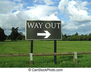way out sign - sign to the visitors to indicate the way out