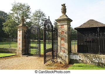 forjado, hierro, gate, ,