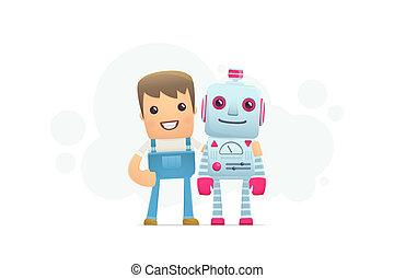 robot repair. conceptual illustration