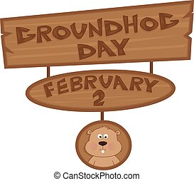 Groundhog Day Sign - Cartoon Groundhog Day Sign with cute...