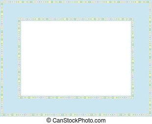 Beaded frame - Beaded patterned frame with mosaic border;...