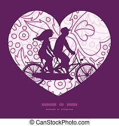 Vector pink flowers lineart couple on tandem bicycle heart...