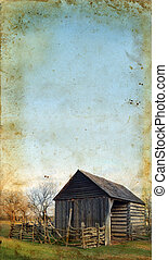 Wooden Shed on Grunge background