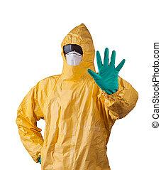 cientista, com, protetor, paleto, ebola, concept.,