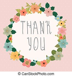 Thank you card. Bright floral frame on pink background....