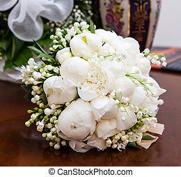 Bridal bouquet with white peonies. - Bridal bouquet with...