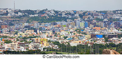 Crowded Hyderabad city - HYDERABAD INDIA - August 29 :...