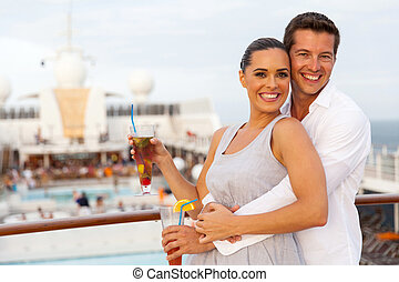 caucasian couple having fun on cruise trip - happy caucasian...