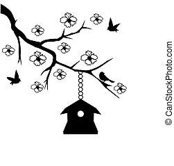 Bird House - vector tree with birds, flowers and bird house