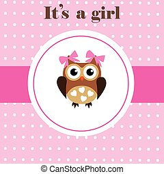 Baby Owl - vector baby shower card