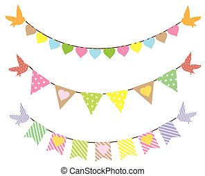 Bunting - vector bunting with birds and hearts