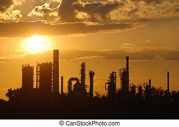 Industrial romantic - Oil refinery at sunset