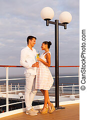 couple on cruise looking at each other