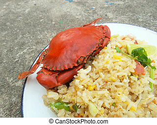 Fried ricenbsp;with crab - Fried rice with crab