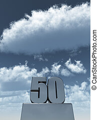 fifty - metal fifty - 50 - in front of cloudy blue sky - 3d...