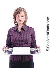 Sad woman with blank letter on tray