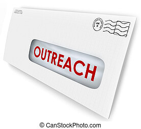 Outreach Word on Envelope Message Advertising Communication...