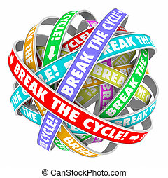 Break the Cycle Words Around Rings Endless Repeating Pattern...
