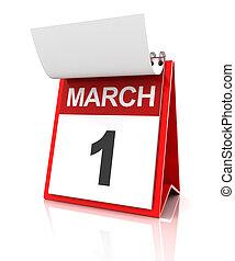 First of March calendar, 3d render