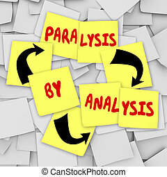 Paralysis by Analysis Sticky Notes Over Thinking Problem...