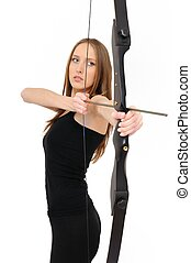Woman shooting with bow - Beautiful woman aiming with bow...