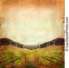 Vineyard in Winter on a Grunge Background - Napa Valley...