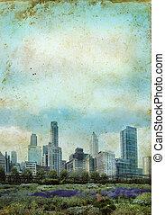 City Skyline on a grunge background