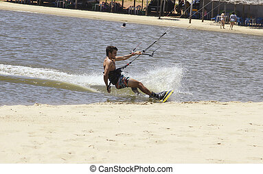 Kite Surfer - CUMBUCO BEACH, FORTALEZA/BRAZIL - DECEMBER 7:...
