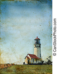 Lighthouse on a grunge background - Cape Blanco Lighthouse...