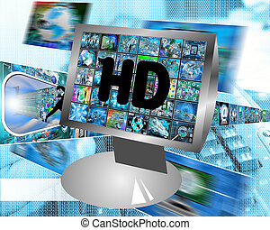 monitor - Many abstract images on the theme of computers,...