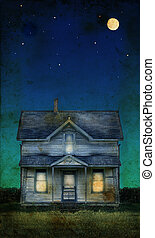 Old Farmhouse on a grunge background - Old farmhouse with a...