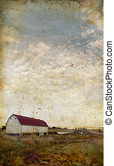 Barn on a grunge background