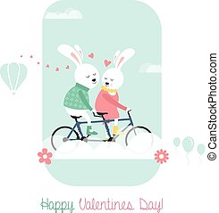 Bunnies on bicycle - Cute bunnies on bicycle Greeting card...