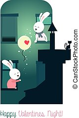 Bunnies with balloon - Cute bunnies with balloon. Greeting...