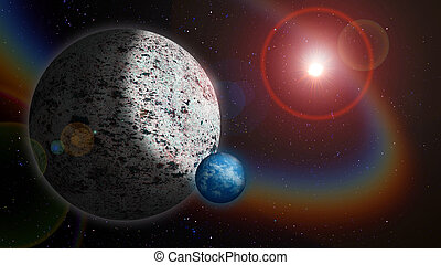 Alien World - Icy Planet with Water Moon