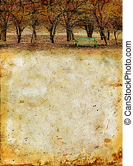 Autumn Forest and Bench on a Grunge Background - Autumn...
