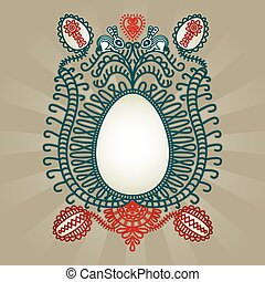 Easter greeting card with folk art inspiration