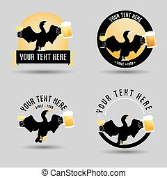 Pub logo design with a cormorant keeping a glass of wine and...