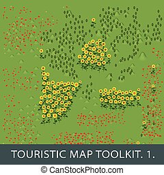 set of natural elements for touristic map. first et.
